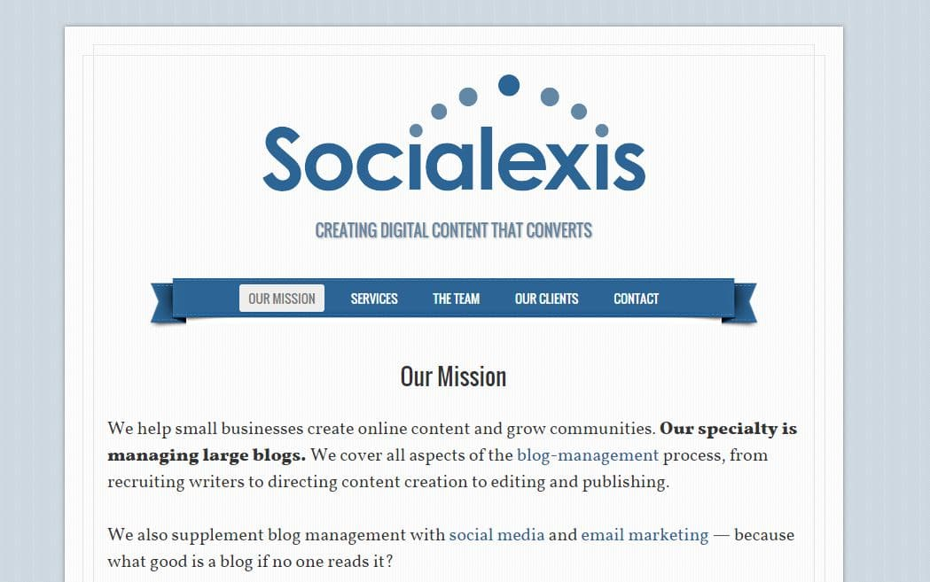 Old Socialexis website
