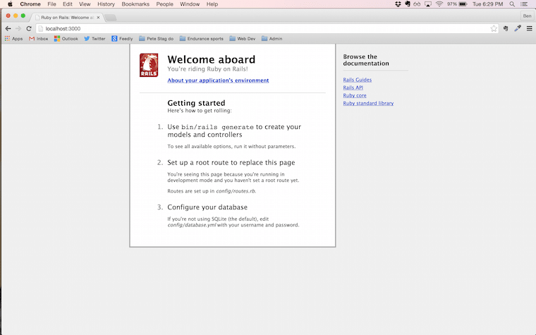 Default Rails welcome screen