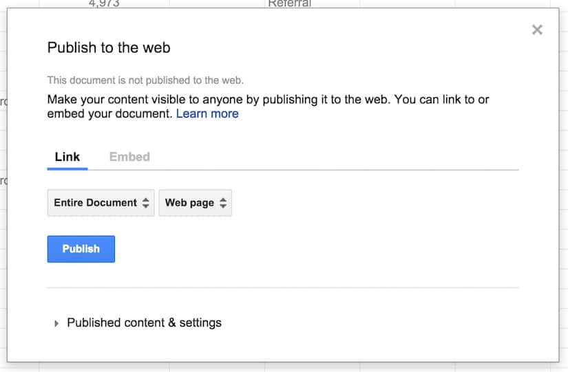 Google Sheets Publish to web