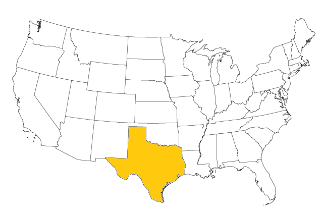 Texas map for Excel dynamic dashboard