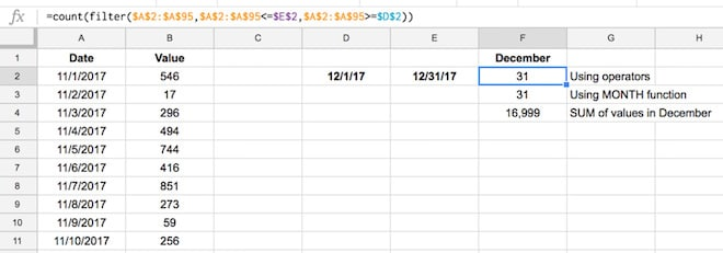 Google Sheets filter function with dates