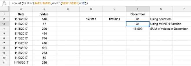 Google Sheets filter function with month