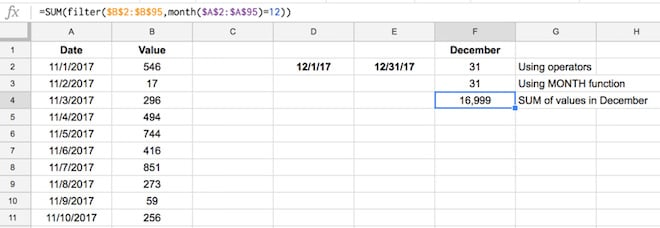 Google Sheets Filter function with sum
