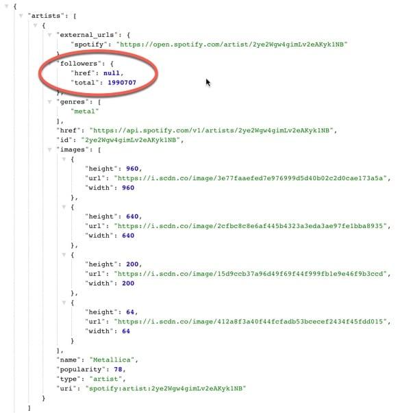 spotify JSON data