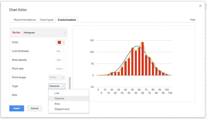 how to make histogram in google sheets