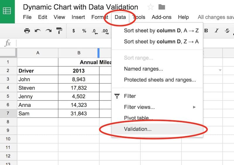 data validation menu