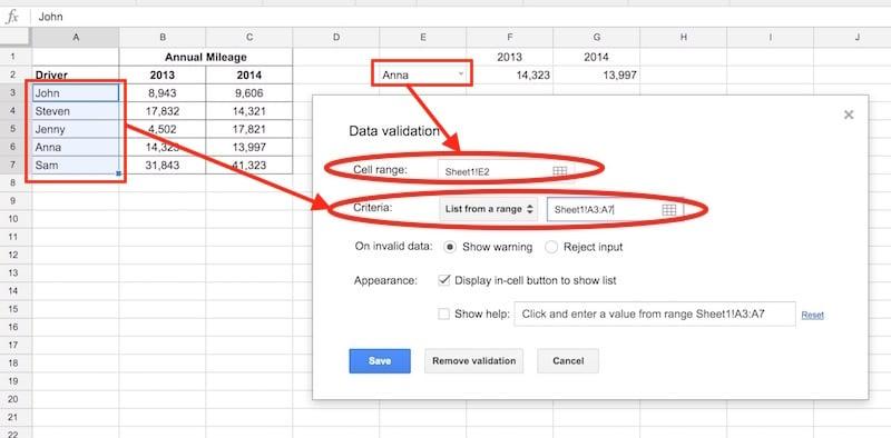 data validation selection menu