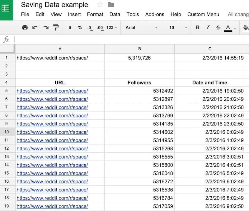 saved data in Google sheets