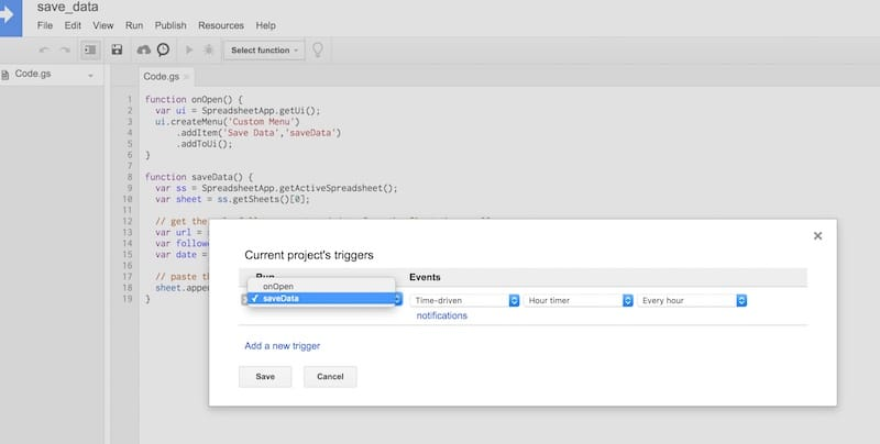 Function trigger in Google Apps Script
