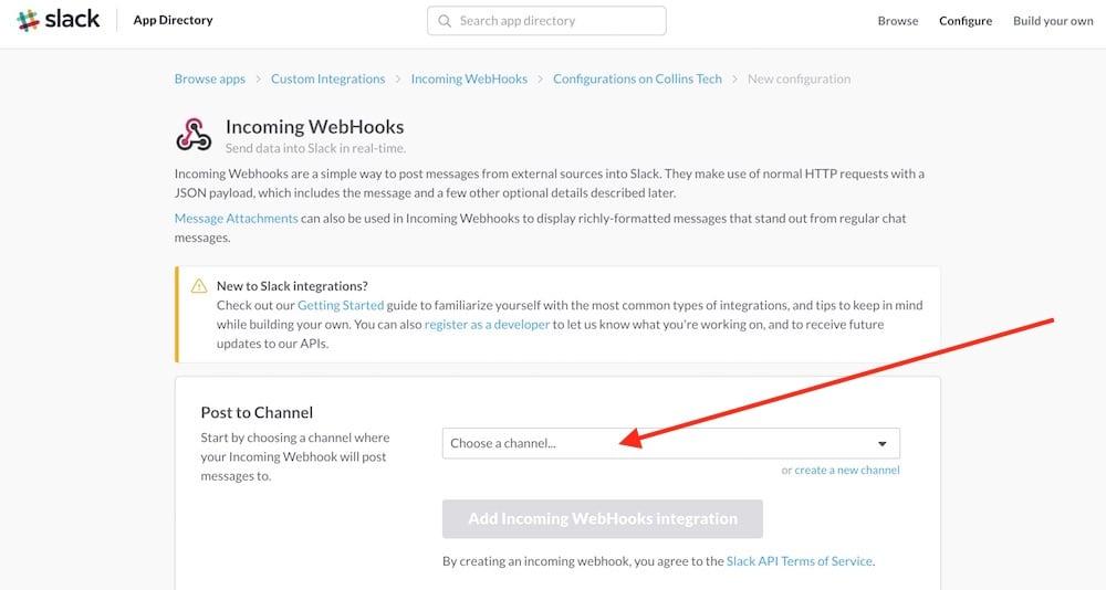 Slack webhook page
