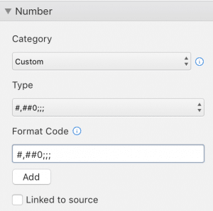 Hide 0 with custom number format