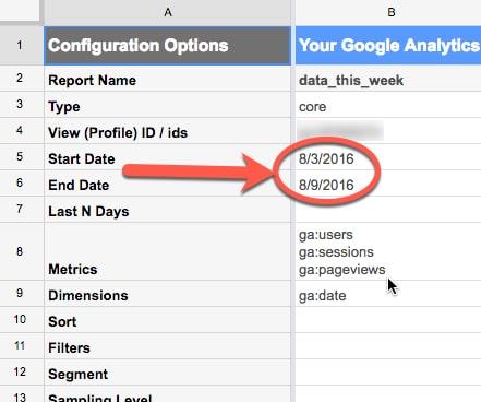 Dates in Google Analytics Report Configuration