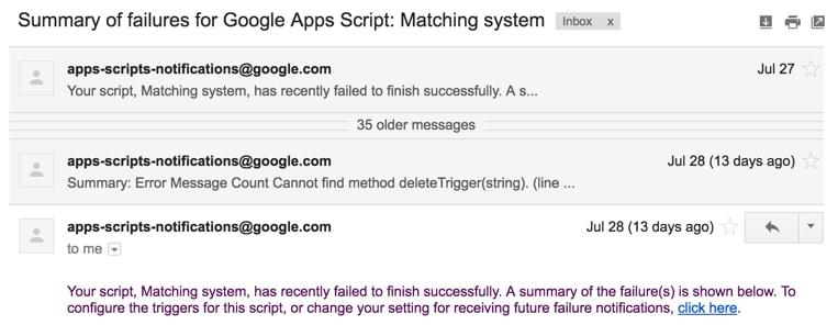 Apps script error detail