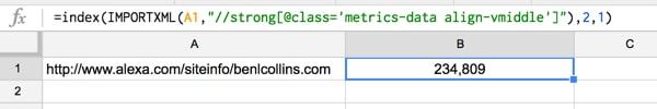 Alexa US ranking to Google Sheets