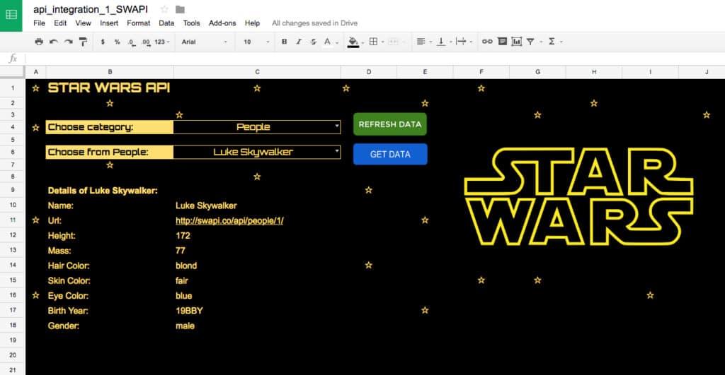 Star Wars API in Google Sheet - Ben Collins