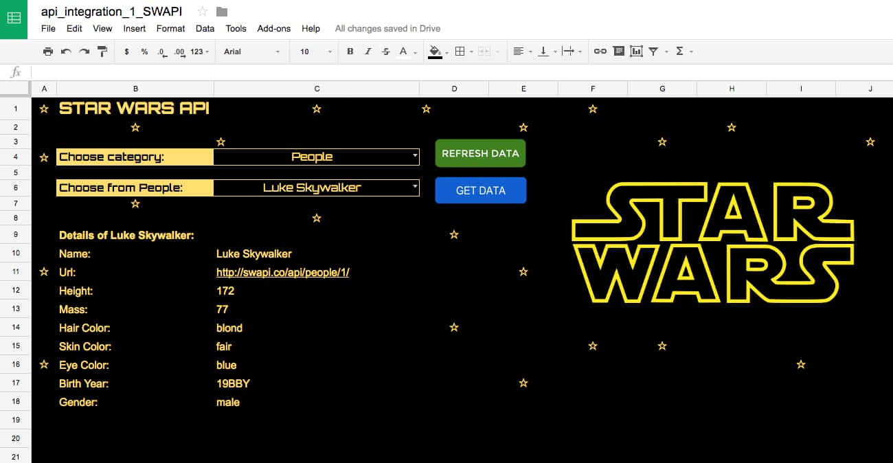 Star Wars API in Google Sheet