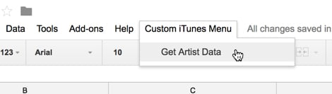 Custom iTunes API menu