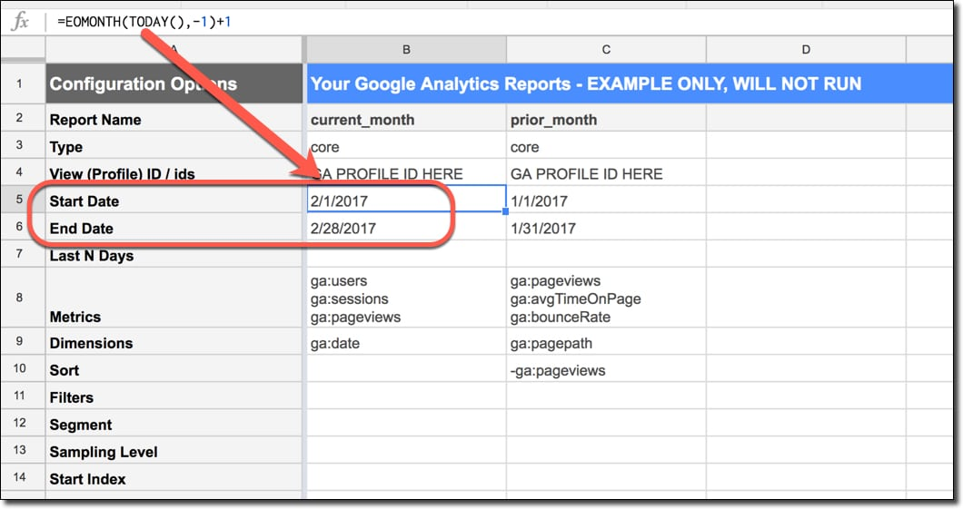 Google Analytics Add-On start and end date