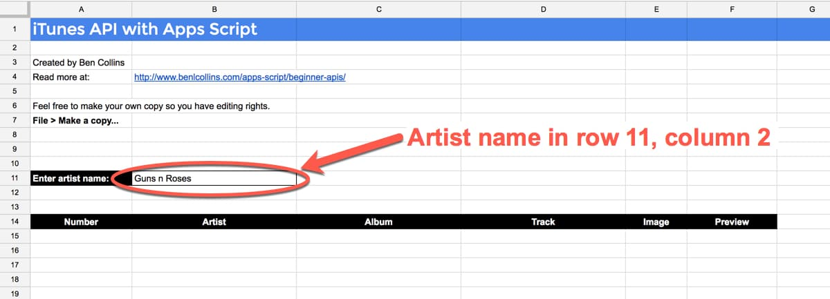 iTunes Google Sheet