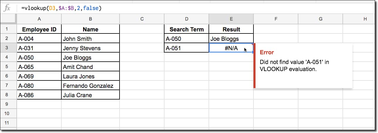 #N/A error in Google Sheets