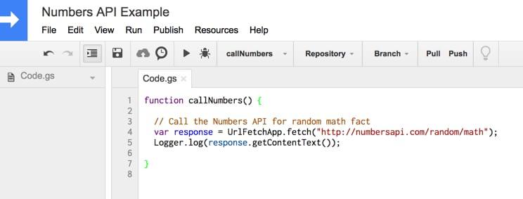 Numbers API apps script code