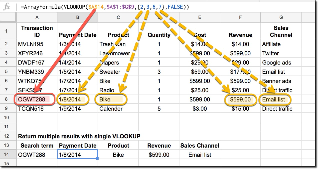 return multiple columns with vlookup formula in Google Sheets
