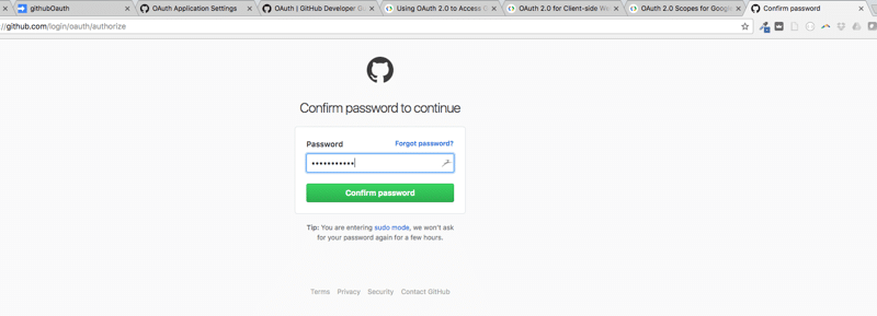Oauth application password github