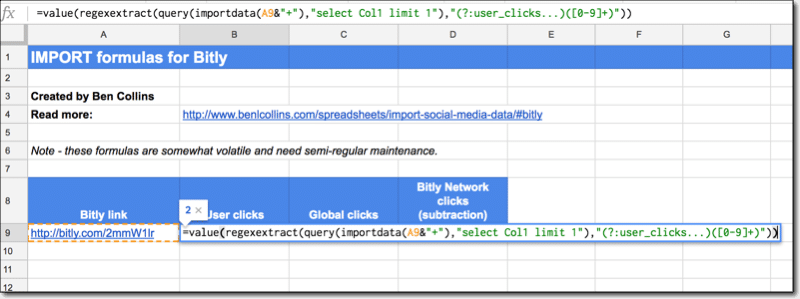 Bitly data import in Google Sheets
