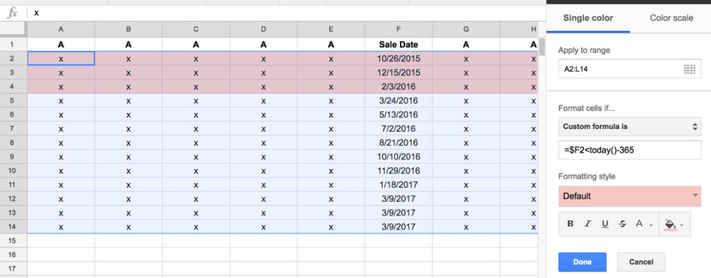 Conditional format whole row