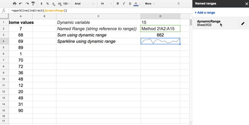 Dynamic named ranges in Google Sheets
