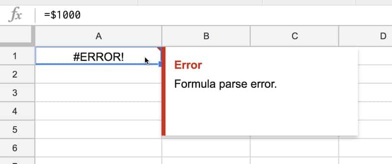 Error Formula parse error