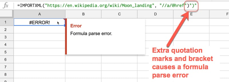 Help, My Formula Doesn't Work! Formula Parse Errors in Google Sheets