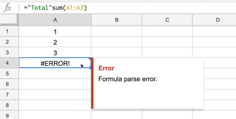 Error error concatenation