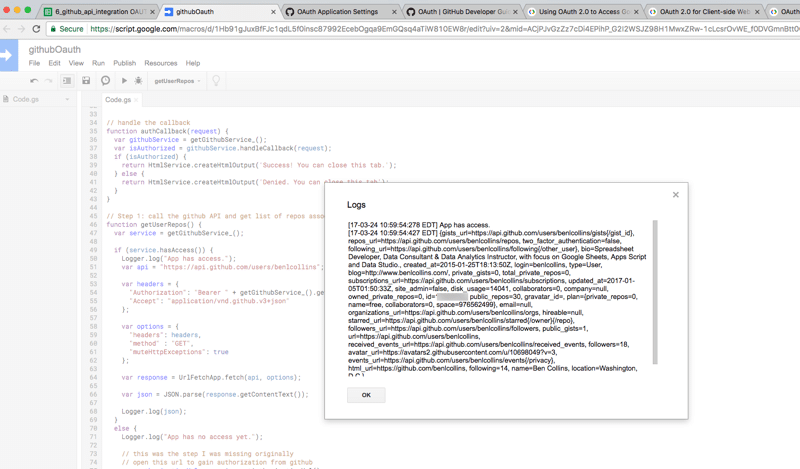 GitHub API with Oauth from Google Sheets