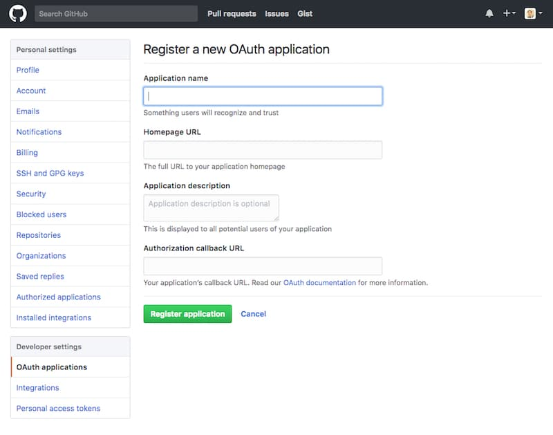 Github register new oauth application