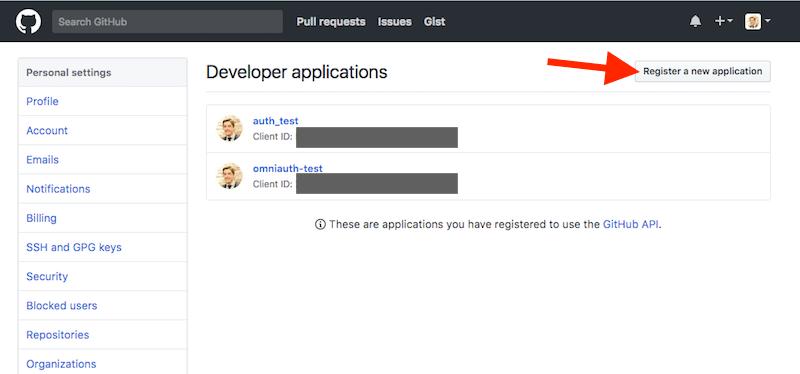 Create github developer app