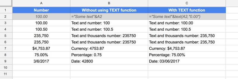 Combining numbers and text in Google Sheets