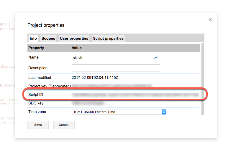 Script id from project properties