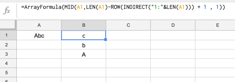 MID formula in Google Sheets