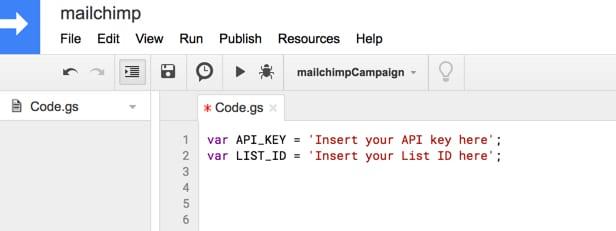 Apps script editor setup for Mailchimp integration