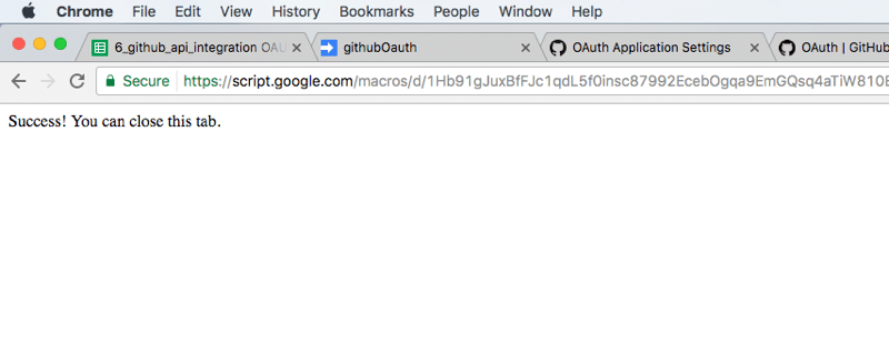 Oauth success callback page