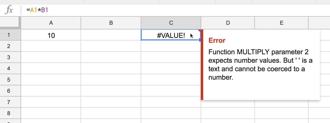 value error in google Sheets