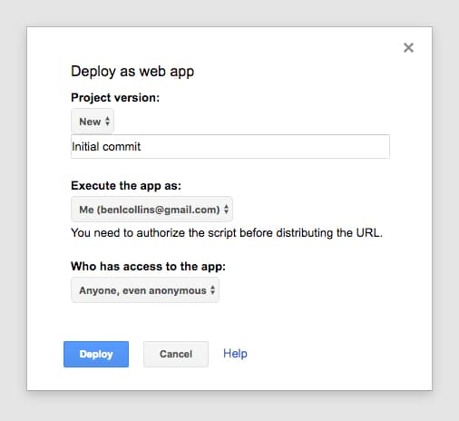 access Google sheets web app