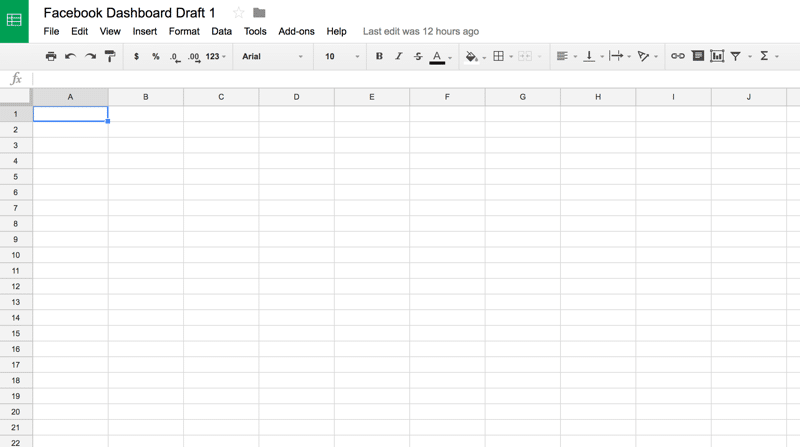 Dashboard design starts with a blank Google Sheet