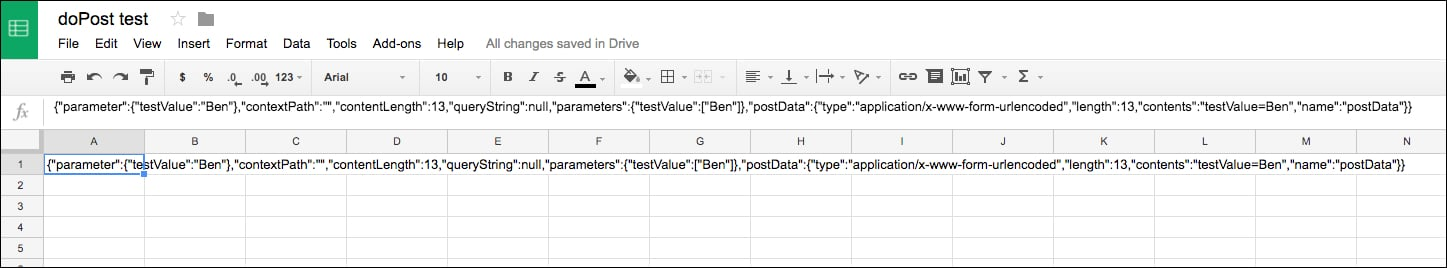 POST data in Google Sheet