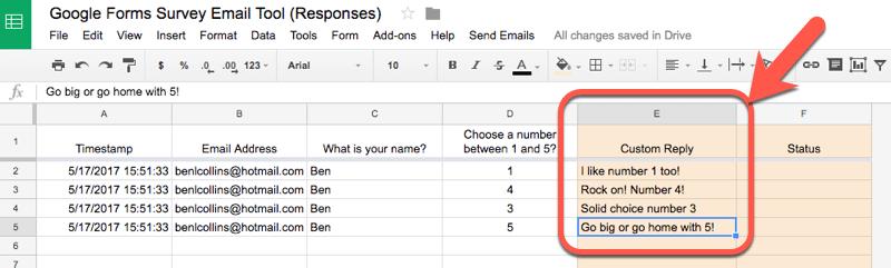 Custom replies in Sheet