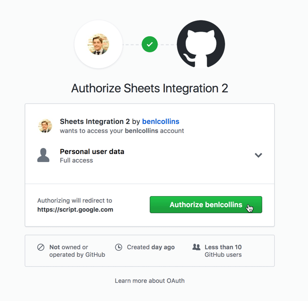 Github authorize application