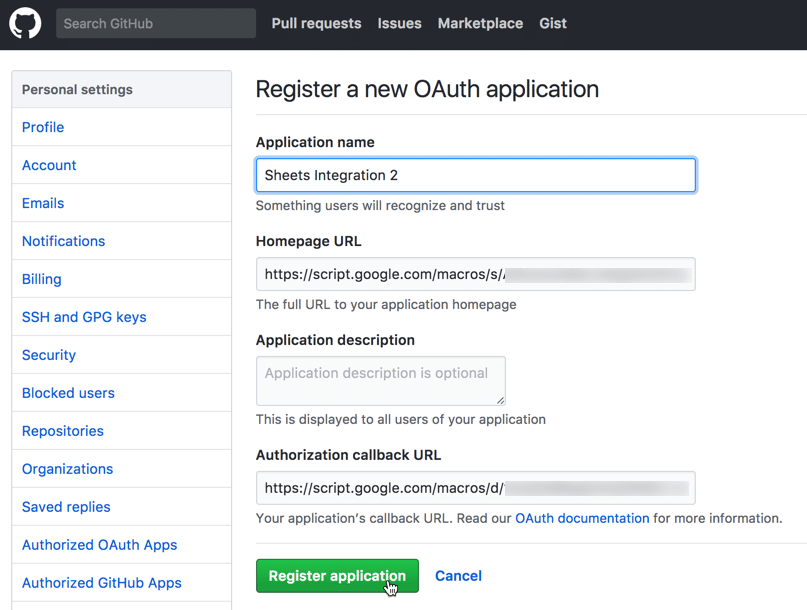 Create an oauth token on github : Cryptonex review dashboard