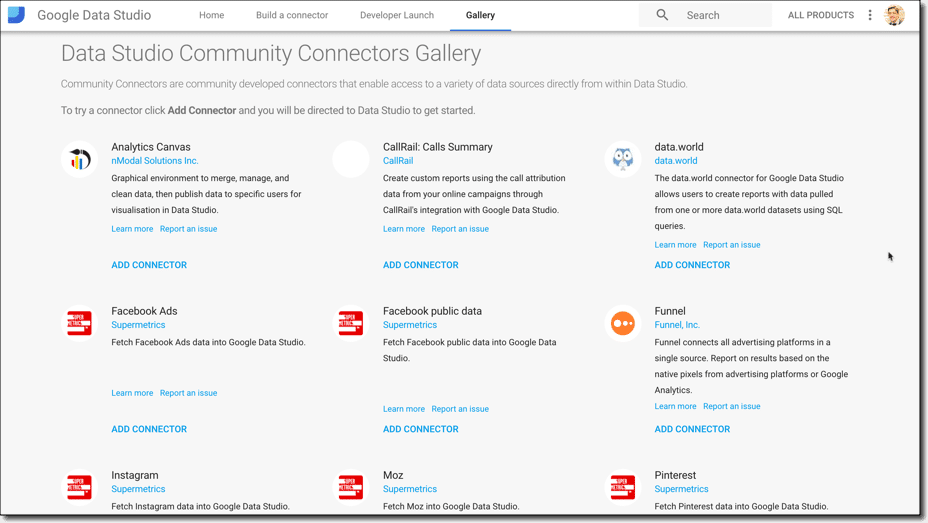Community Connector gallery