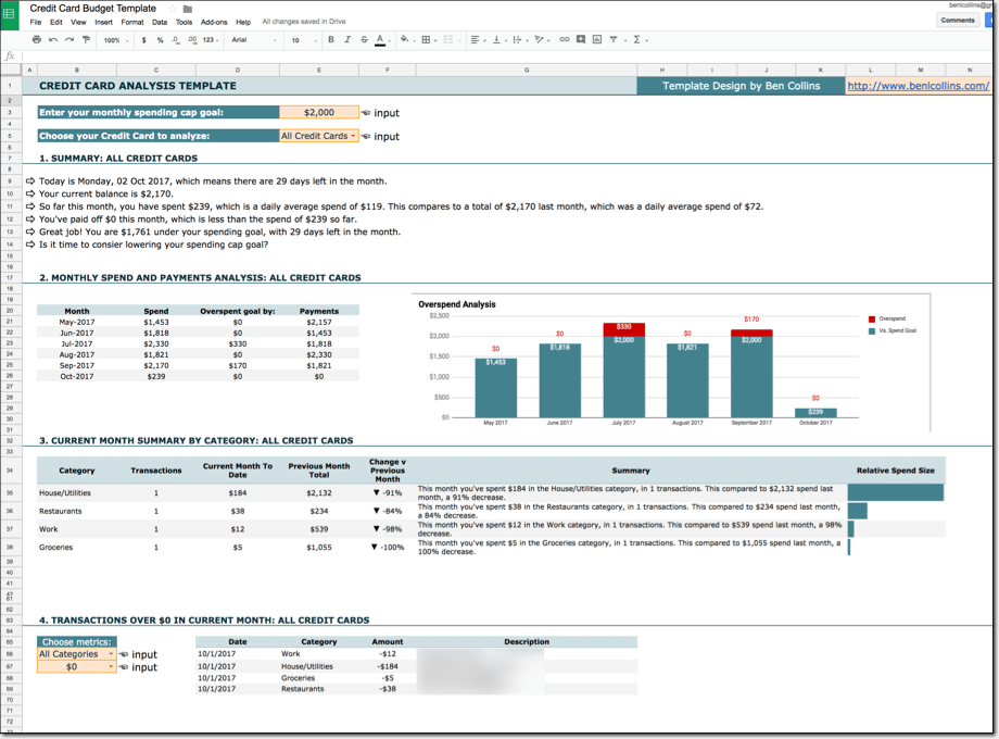 Google Sheets budget template with Tiller